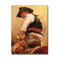 Old man riding horse pictures cowboy impressionism portrait oil painting modern wall decoration