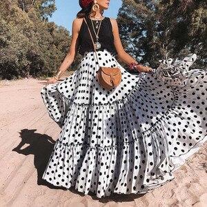 Женская плиссированная юбка, с высокой талией и принтом в горошек