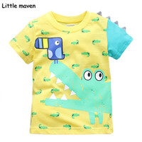 Little Maven Brand Children Clothing 2017 New Summer Baby Boy Clothes Cotton Lovely Crocodile Bird Print