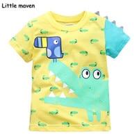 Little Maven Brand Children Clothing 2017 New Summer Baby Boy Clothes Cotton Lovely Crocodile Bird Print