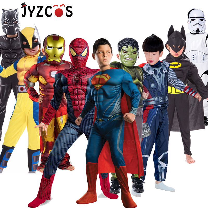 Superhero Costume Spiderman Superman Batman Panther Anime Avengers Cosplay Clothes Carnival Purim Halloween Costumes for Kids