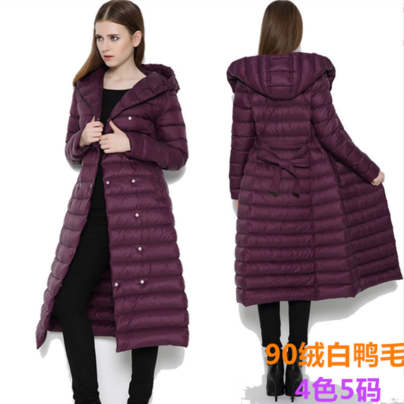 European and American large size x-long double breasted down jacket women ultra thin lightweight down coat outerwear 2017 winter