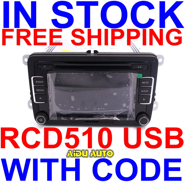 Free Shipping Car Radio Stereo USB AUX RCD510 With Code For VW Golf 5 6 Jetta MK5 MK6 Passat B6 CC B7 Polo rcd330 rcd330g plus 6 5 mib radio rcd510 rcn210 stereo for vw golf 5 6 jetta mk5 mk6 cc tiguan passat b6 b7 polo touran 187a