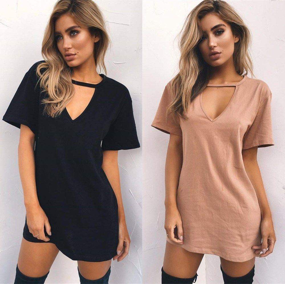 2019NEW Short-sleeved Deep V T-shirt Loose Dress Sexy Nightclub Style