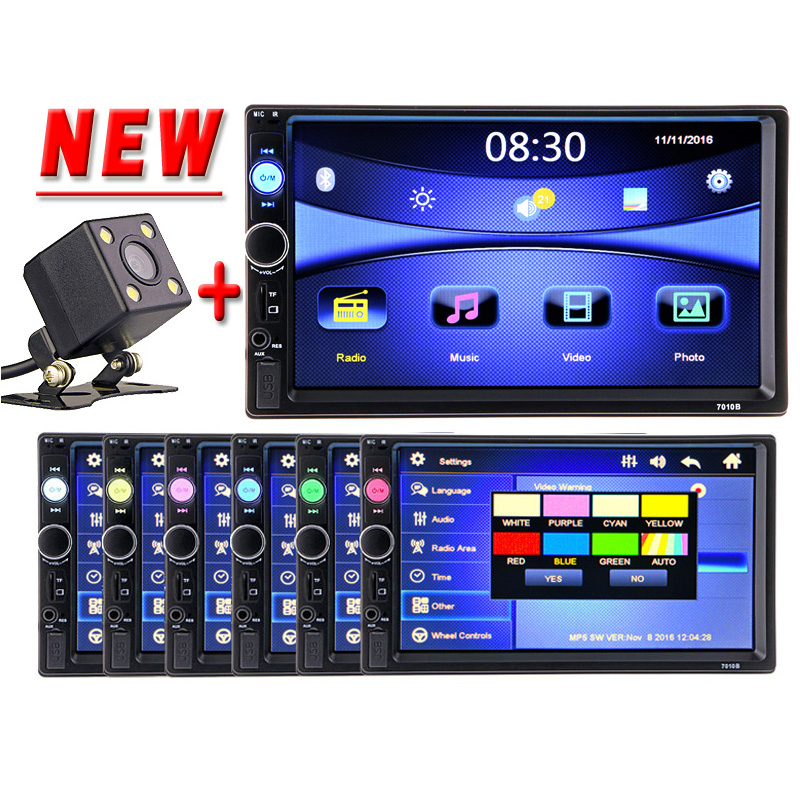 2 Din Car multimedia Video Player Touch Screen Bluetooth Stereo Radio FM MP3 MP4 MP5 Audio Music USB TF Auto Electronics 2din steering wheel control car radio mp5 player fm usb tf 1 din remote control 12v stereo 7 inch car radio aux touch screen