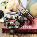 6pcs mix 3 colors ) 100% Cowhide bracelet Accessories vintage exquisite skull pendant multi-layer lovers bracelets