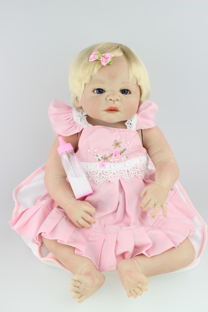 NPK COLLECTION 58cm Full Body Silicone Reborn Baby Doll Toys Lifelike Full Vinyl Newborn Girl Babies Brithday Gift Bathe Toy lifelike american 18 inches girl doll prices toy for children vinyl princess doll toys girl newest design