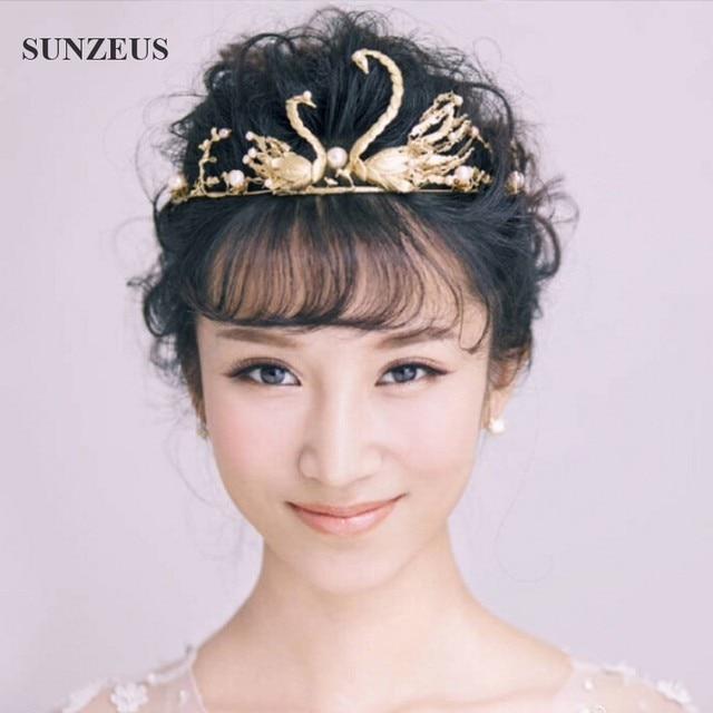 Princess Crown Vintage Golden Baroque Bridal Headband Noiva Swans Coroa De Princesa SQ059