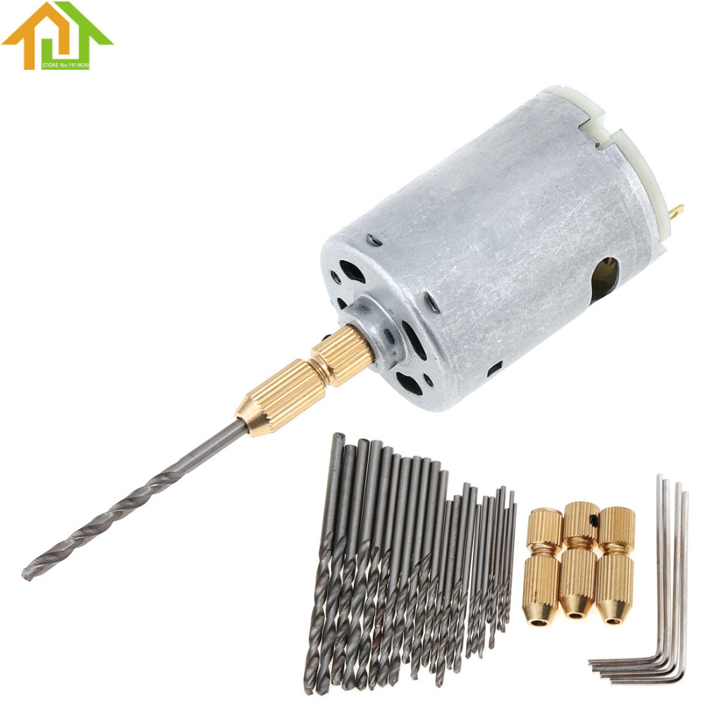 DC 12V Mini Electric Motor DIY Hand Drill  with 4pcs Hexagon Screw Wrench and 3pcs Brass Drill Collet 24pcs Micro Twist Drill dc 3v 24v mini electric hand drill rotary tool diy 385 motor w 24v power supply g205m best quality