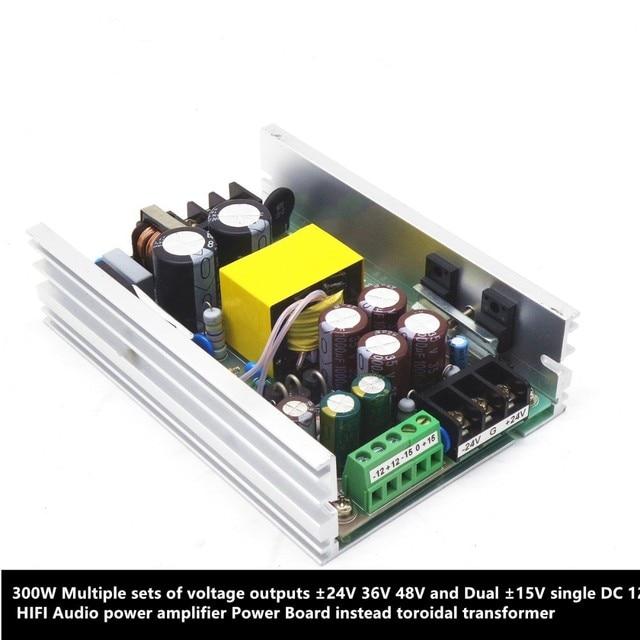 مخرجات 300 واط ± 24 فولت 36 فولت 48 فولت وثنائي 15 فولت واحد DC12V HIFI مضخم الصوت لوحة الطاقة امدادات الطاقة بدلا محول حلقي