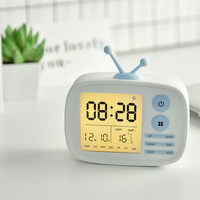 Cute Digital LED TV Set Alarm Clock With Snooze Wake Up USB Rechargeable Battery Clock Home Decor L610