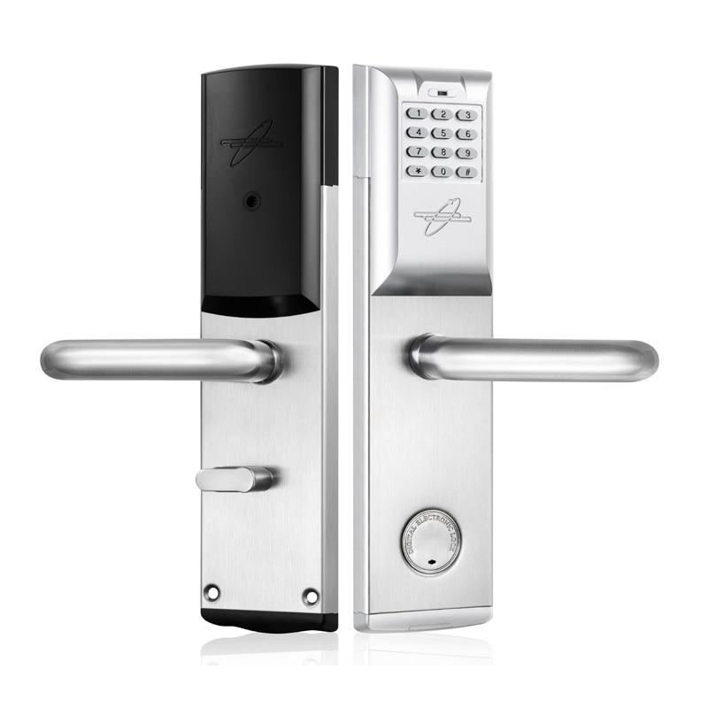 Smart Password Door Lock Keypad RFID Card Intelligent Digital Lock Mechanical Key Keyless Smart Entry L&S L16084BS 2017 new arrival biometric smart door lock digital touch screen keyless fingerprint password rfid card key 4ways l17014