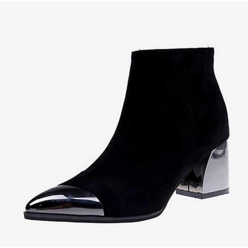 MCCKLE/женские пикантные ботильоны на высоком квадратном каблуке; сезон осень-зима; Женская замшевая обувь на молнии с острым носком для вечеринок; модная новинка 2018 года