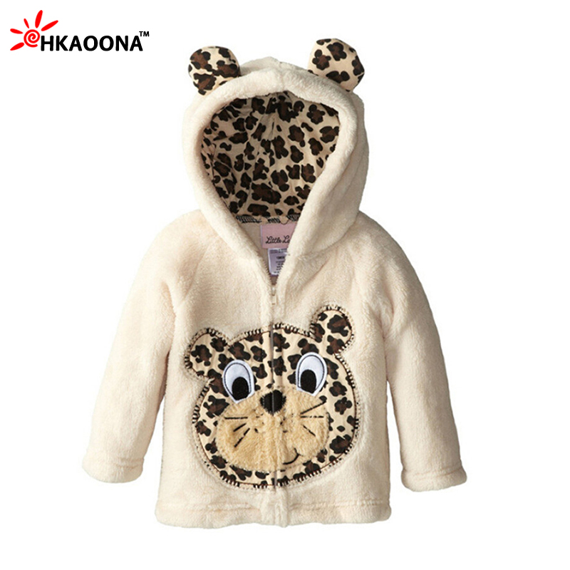Kids Coral Fleece Hooded Coat Autumn Child Thicken Sweatshirt For Baby Boys Girls Cartoon Animals Jacket