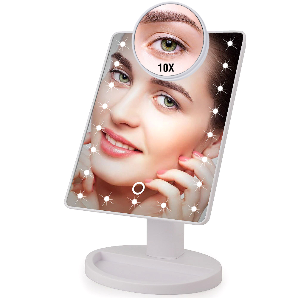 22 LED Light Touch Screen 1X 10X Magnifier Makeup Mirror Desktop Countertop Bright Adjustable USB Cable Or Battery Use 16 Lamp