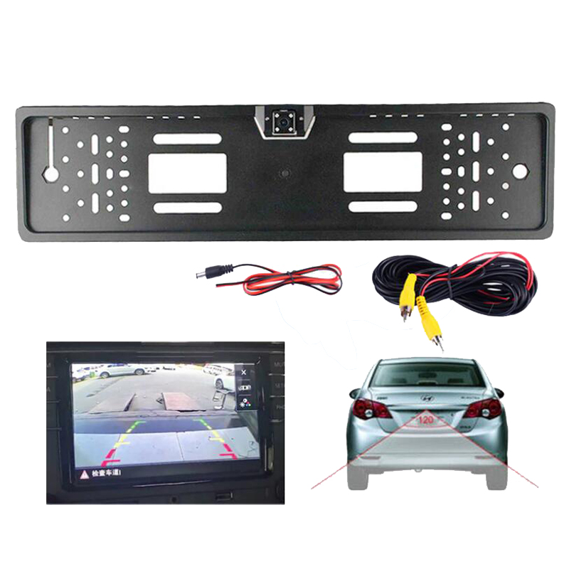 Auto Parktronic EU Car License Plate Frame HD Night Vision Car Rear View Camera Reverse Rear Camera With 4 Led Light(China)