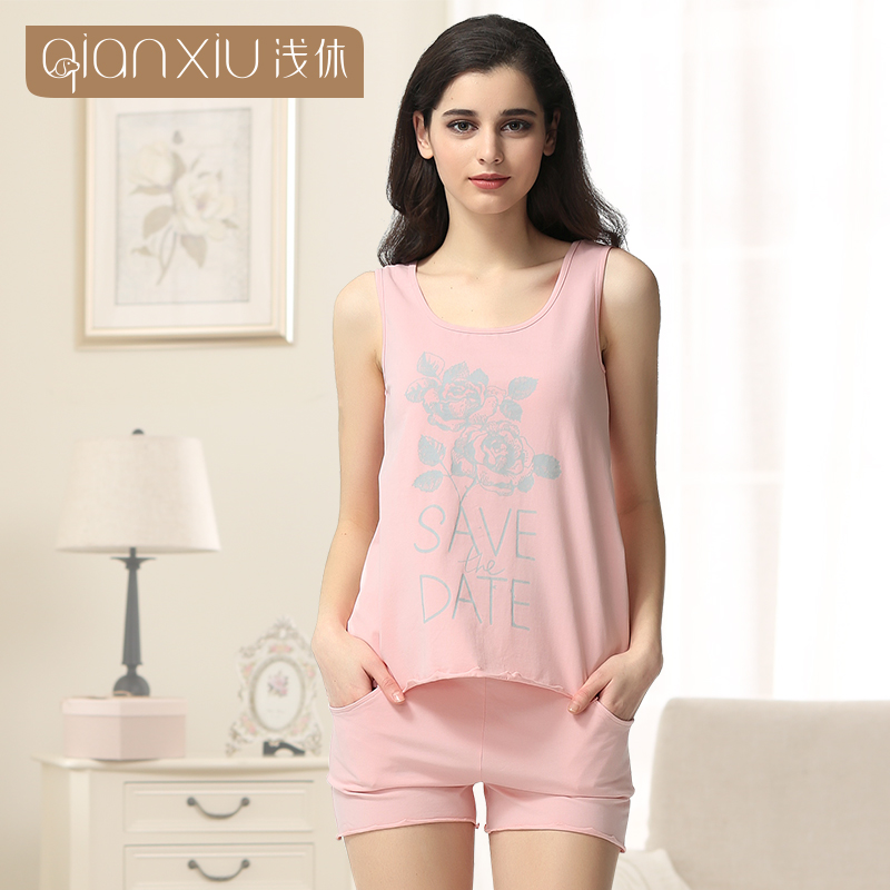 083ce3dfb8 Qianxiu Pajama Sets For Women Sleeveless Pyjama femme 95%Cotton  Homedress-in Pajama Sets from Women s Clothing   Accessories