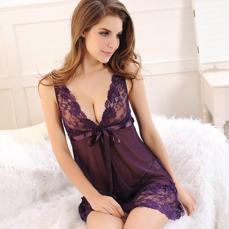 Lace Nightgown Women Sleepwear Pyjamas Summer Negligee Babydoll Nightwear Sexy Lingerie Bathrobe Female Nightdress Home Clothes