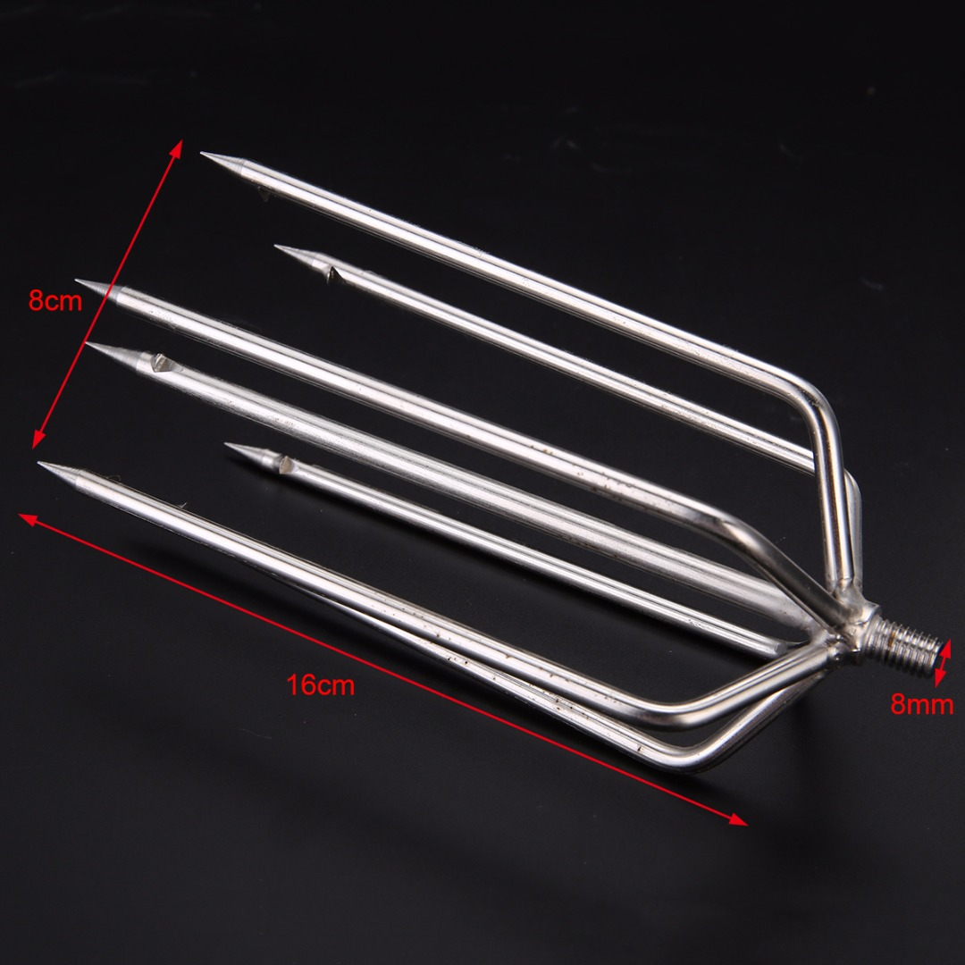 1Pcs Barbed Fishing Fork 7 Prong Harpoon Fish Spear Fork Fishing Ice Breaker Drill Fishing Spear Gig Gaff Fork Hook
