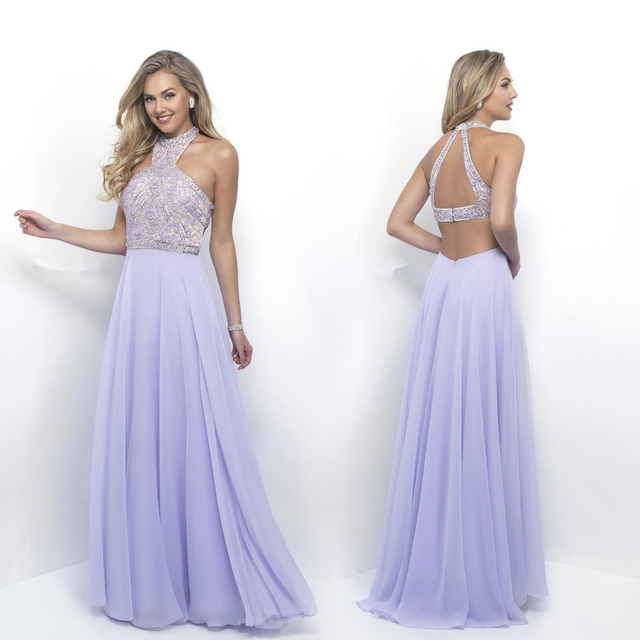 d4758e832625c Light Purple Formal Evening Dresses Long 2017 vestidos de formatura Halter  Robe de soiree Prom Party Gowns vestido de noche