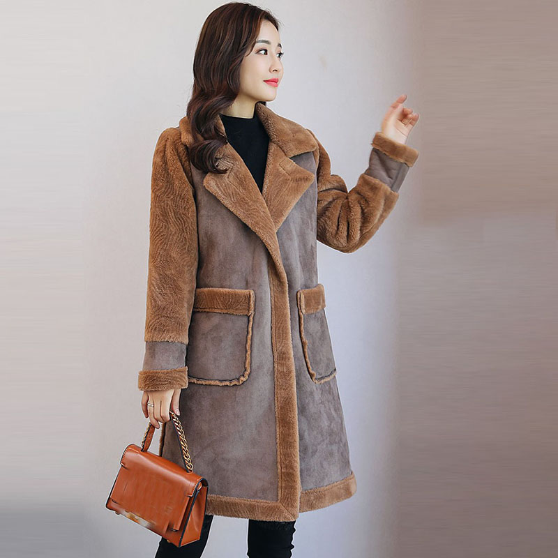 women   Suede     leather   thick Coat 2018 new winter long   suede   plus wool warm female jacket Dark buckle's parka pink outerwear QH1229