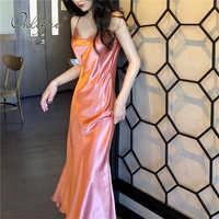 Ordifree 2019 Summer Women Long Satin Slip Dress Vintage Spaghetti Strap Party Dress Pink Gold Silk Sexy Maxi Dress