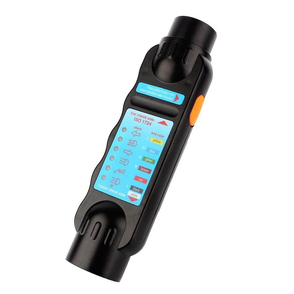 7 Pin Car Truck Trailer Plug Socket Tester Wiring Circuit Light Test Tool E9F8 Black Diagnostic Tools