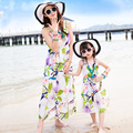 Floral Sundress 2017 Girl Beach Dress Mother and Daughter Dress