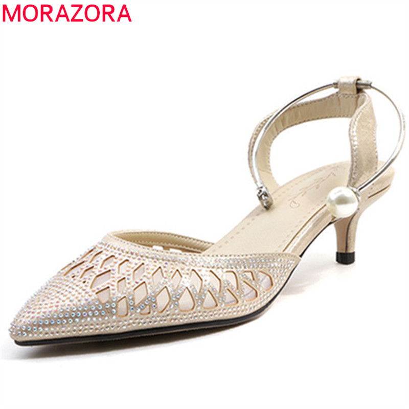 MORAZORA 2018 top quality women sandals pointed toe summer shoes hollow out crystal party wedding shoes thin high heels shoes stylesowner mesh crystal bling high heel pumps summer hollow out thin high heels pointed toe wedding shoes for lady size34 43eu