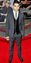 Gray Groom Tuxedos Men's Dinner Party Prom Suits Groomsmen Wedding Blazer Suits (Jacket+Pants+Vest+Tie) NO:236