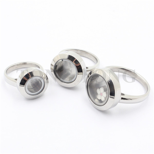 16.5mm/18mm/22mm 316L Stainless Steel Screw-off Living Charm Locket Ring (locket size: 15mm/17mm/20mm)