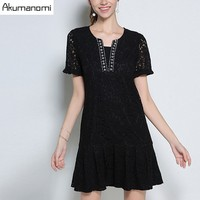 Lace Dress Solid Black Hollow Out Short Sleeve Pleated Hem Casual Fashion Party Summer Dress Plus