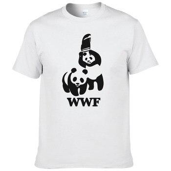 WEWANLD WWF Wrestling Panda Comedy Short Sleeve Cool Camiseta T Shirt Men Summer Fashion Funny T-shirt #188 - discount item  39% OFF Tops & Tees