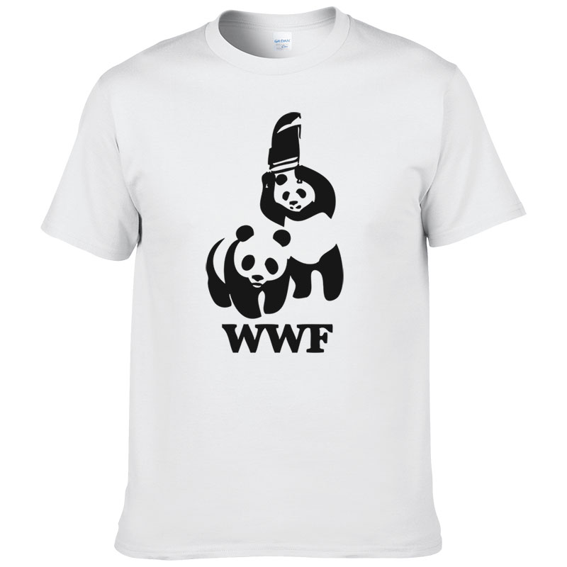 WEWANLD WWF Wrestling Panda Comedy Short Sleeve Cool Camiseta   T     Shirt   Men   T     Shirt   Summer Fashion Funny   T  -  shirt   #188