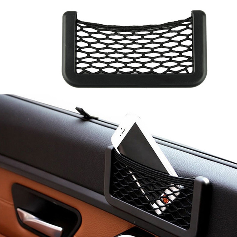 Retail 1Pcs Universal 15X8cm Automotive Bag With Adhesive Visor Car Net Organizer Pockets Net storage Bag