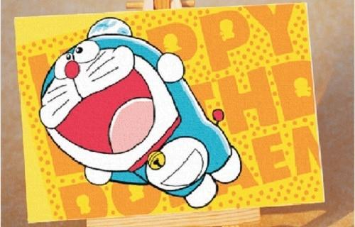 Kartun Doraemon Kucing Biru Diy Digital Lukisan Minyak Dengan Angka