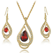 2016 Red Crystal Jewelry Sets For Women Girl Party Rhinestone Necklace Dangle Earrings Pendants 18K Gold Plated Jewelry Set Gift
