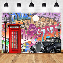 NeoBack Hip Pop 80s 90s Backdrop Graffiti Vintage Photography Backdrops Telephone Booth Retro Car Decoration Background