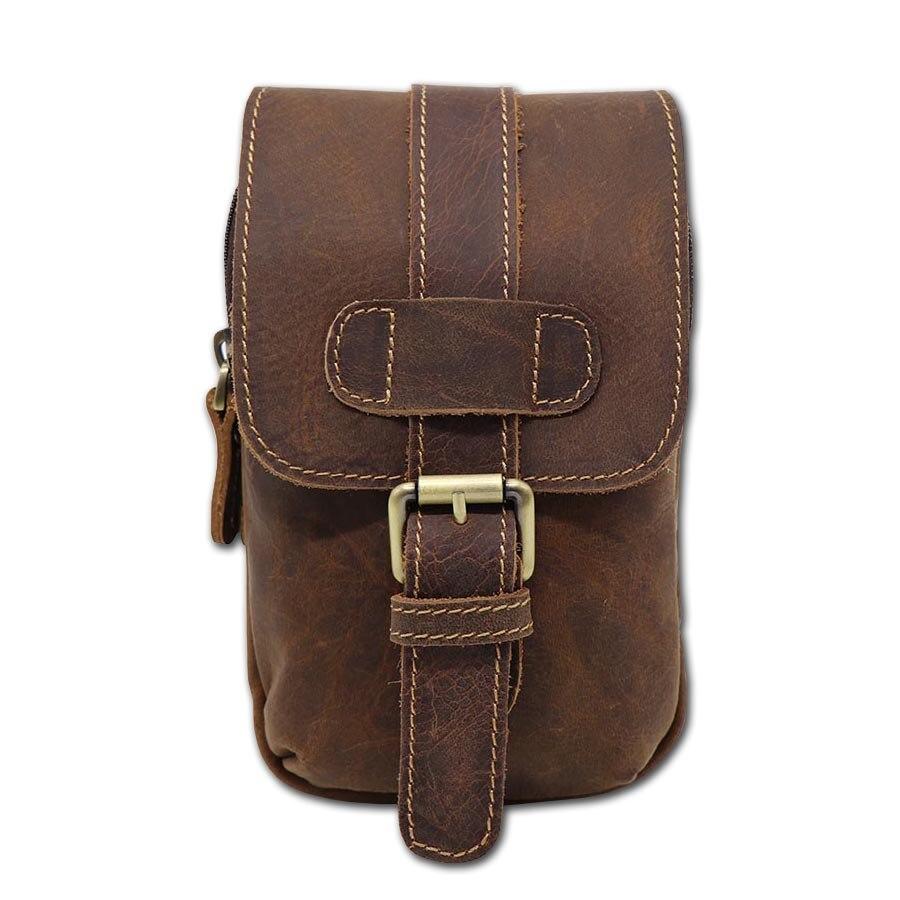 Retro őrült ló valódi bőr derék táska férfi többfunkciós válltáska Fanny öv csíkos alkalmi mini Messenger táskák