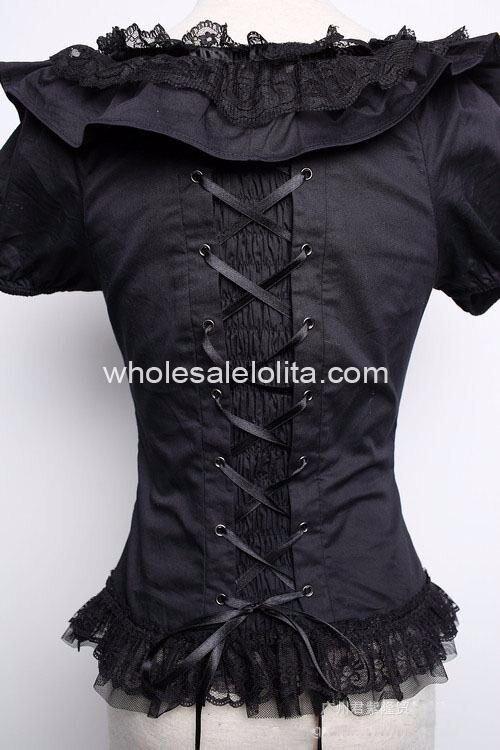 Готическая Лолита в Королевском черном блузка Лолита рубашка шифон кружева пятно рубашка 4xl 5xl 6xl для продажи