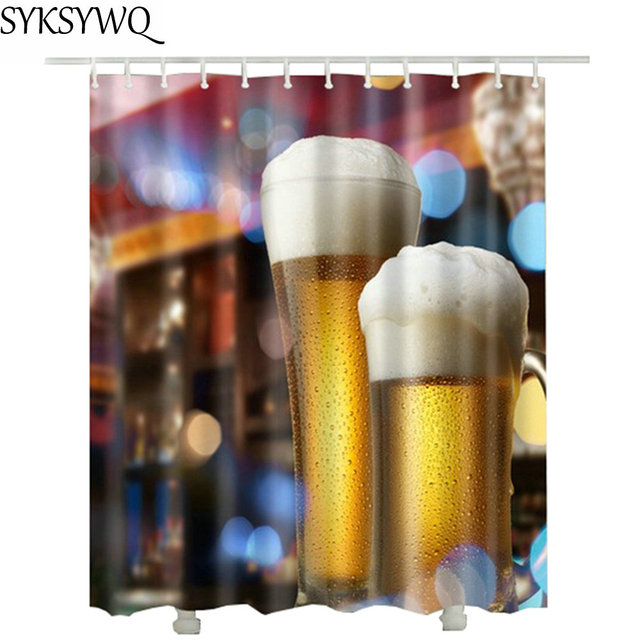 Beer Shower Curtain For Bathroom Rideaux De Douche 2018 New Drop Shipping Polyester Fabric Waterproof Curtains