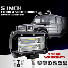 72W LED Work Light for Tractor Boat Offroad SUV ATV Universal Off Road Working Lamp Car-styling 5″ LED Light Bar Car-styling