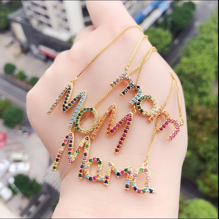 2019 New Arrived Personalized Mom Letter Necklace Rainbow Cz Initials Big Alphabet Long Women Gorgeous Jewelry KN069