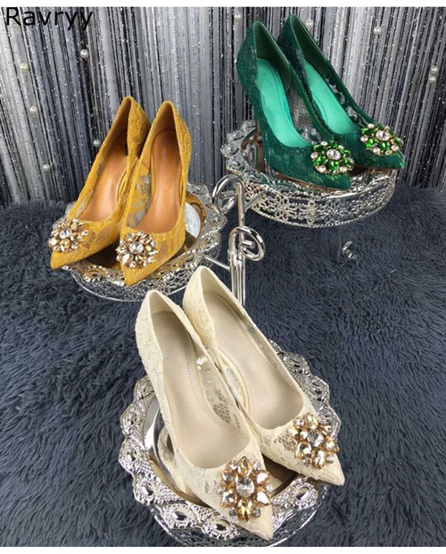 Wedding Shoes woman green lace high heel bling bling crystal decor sexy pumps pointed toe slip-on feamle stiletto dress shoes диск replay mr71 7хr16 5х112 et33 d66 6 mbf