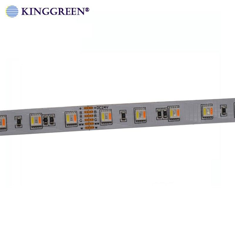 Tira de luces LED de alta calidad CRI> 90 ajustable 5050 RGBWWCW 5 en 1 LED regulable DC24V 60LED/m cinta LED de luces envío gratis Tira LED RGB 5050 resistente al agua DC 12V 5M RGBW RGBWW tiras de luz LED Flexible con 3A de potencia y Control remoto
