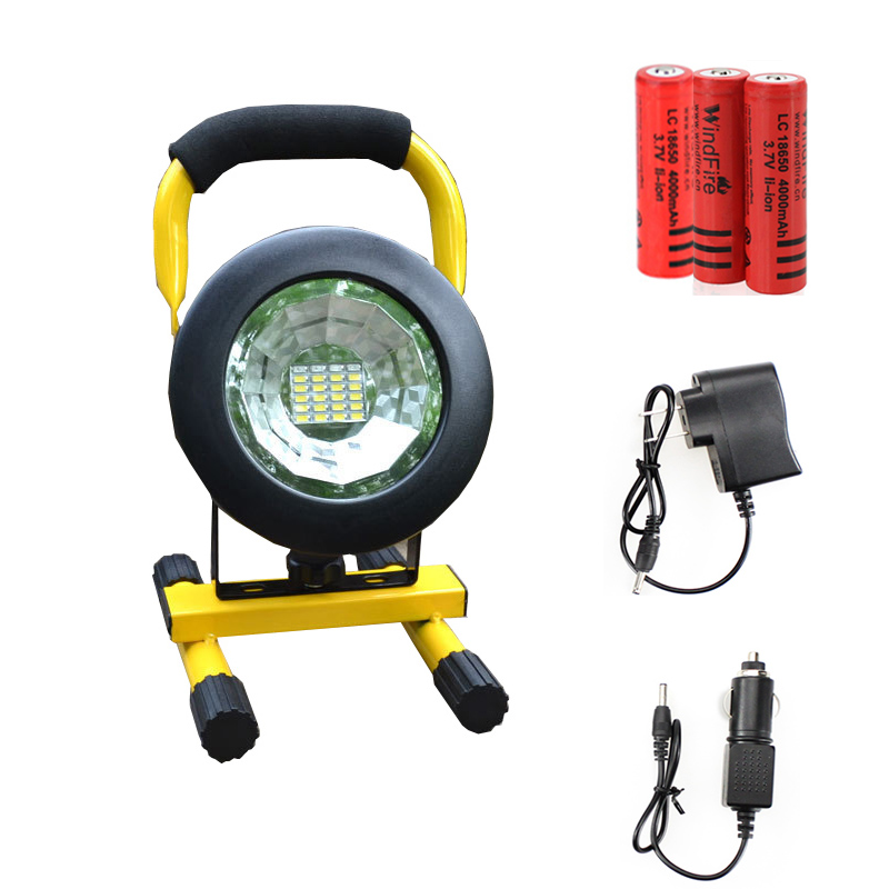 ФОТО LED Floodlight 5730 Portable Spotlight Movable outdoor camping light Rechargeable grassland include 3*18650 battery and charger