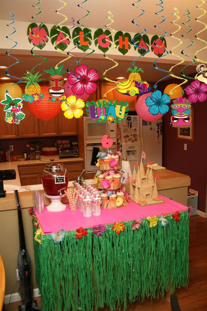 30 Piezas Luau Fiesta Decoraciones Flores Frutas Colgando Pancartas