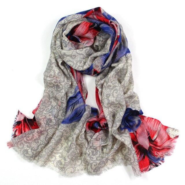 Bufanda de invierno 2015, estampado de flores de encaje, los mantones florales, bufanda de marca, bufanda de lana, bandana, cachemira de pashmina, chales y bufandas