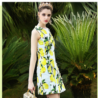 Summer Runway Designer Dress Women S High Quality Yellow Lemon Fruit Printed Elegant Crystal Button Mid