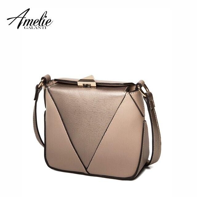 AMELIE GALANTI new vintage women shoulder bag flap versatile hard patchwork cover crossbody bag high quality famous design bags